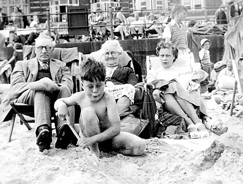 Happy Days! The Editor of Dorset Ancestors pictured on Weymouth beach with his mother and grand parents,  George and Fanny (Trent) Chisman. About 1950.