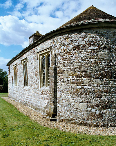 St. Andrews Church showing the outward lean of the walls. Winterborne Tomson