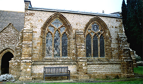 The south windows of the chapel are 14th century.
