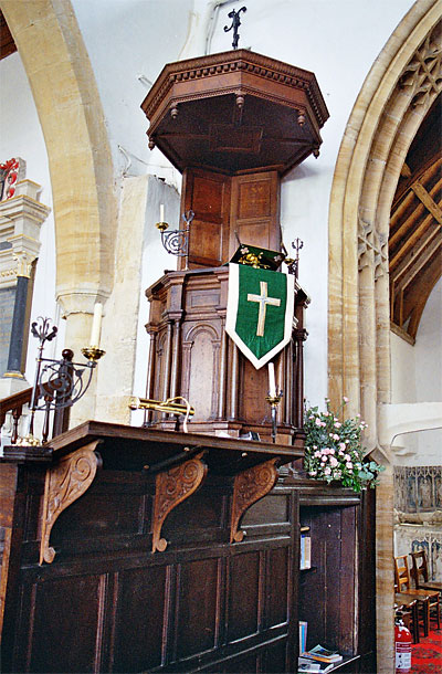 This splendid three stage pulpit at St. Mary's dates from 1635.