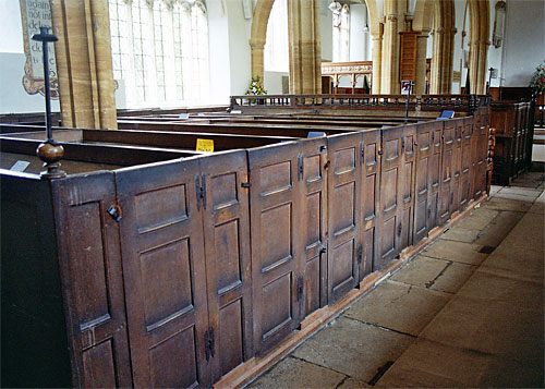 The box pews at St. Mary's.