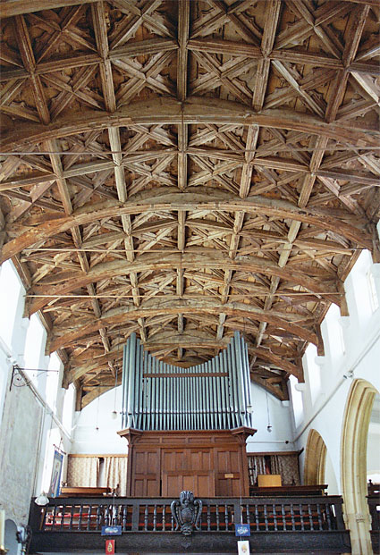 The glorious nave roof is of the 15th century: it was restored in 1933.