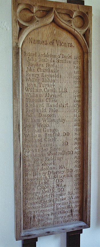 A list of all the vicars of Puddletown is displayed in the north porch in an unusual way.