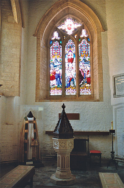 South transept now the bapistry and a memorial area to Archbishop Fisher