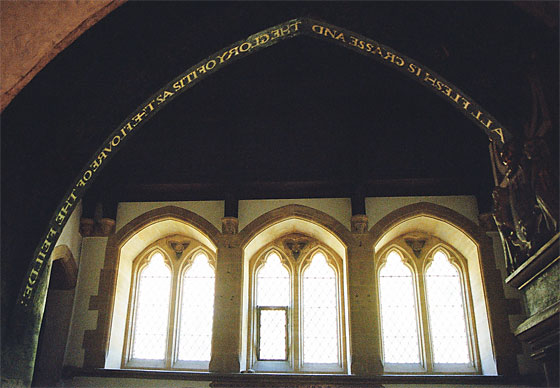 Arch over the entrance to the North or Manor Chapel.