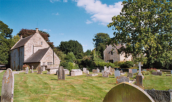 View from the churchyard. Left of p[icture is Chantry House and to the right is the Dairy Farmhouse.