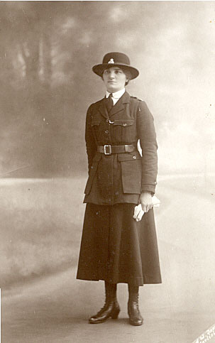 Alice Maud Trent in the uniform of the Women's Police Volunteers - 1918
