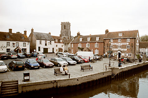 The Quay at Wareham; in the background the tower of Lady St. Mary's Church.