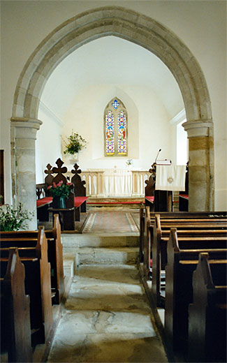 Interior view of the church from the nave to the chancel.