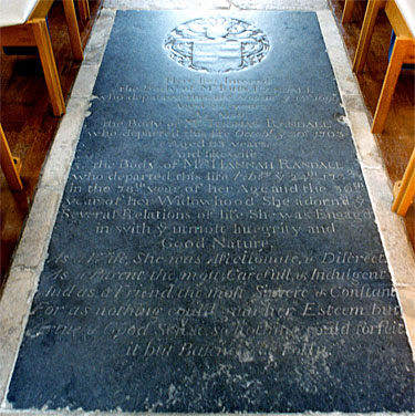 Floor slab memorial to John Randall and his family in the nave aisle of St. Mary's Church.