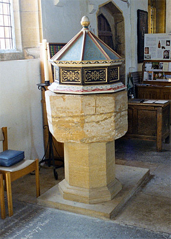 The font is to be found in the south aisle; its octagonal bowl is medieval and stands on a modern base and plinth.