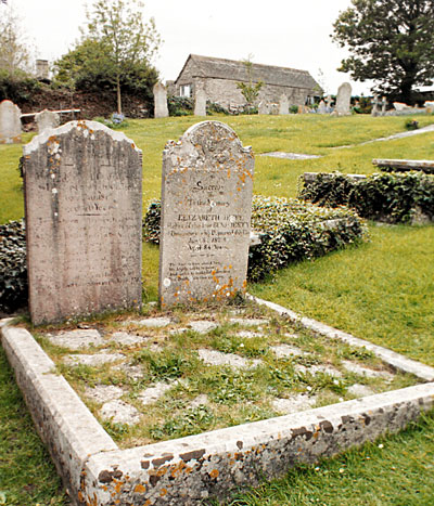 The graves of Benjamin and Elizabeth Jesty in the churchyard of St. Nicholas Church, Worth Matravers.