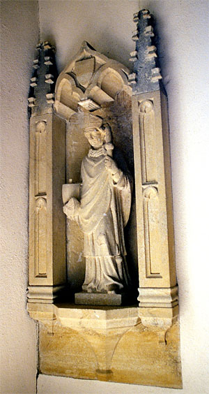 This beautifully carved statue of St. Nicholas is believed to be 15th century and is in the north chapel.