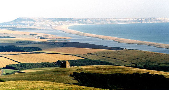 The Chapel of St. Catherine overlooking the Chesil Beach and the Fleet Lagoon.