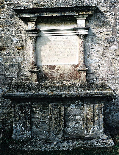William Weare's grave under the church wall.