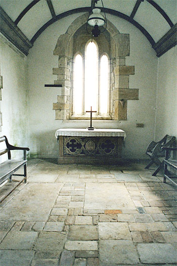 The Chancel.  The altar came from Dorchester Holy Trinity; for some reason the original Whitcombe altar has been moved to Stockwood.