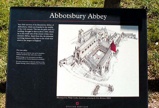 English Heritage provide an artist's impression of how the Abbey looked before it was demolished. The highlighted area is all that remains.