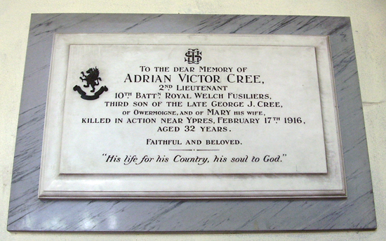 A Plaque in St. Michael's church to the memory of Adrian Victor Cree and his wife. Adrian was killed in action in 1916 aged 32 years.