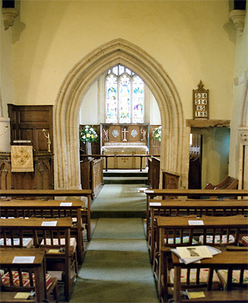 Interior showing chancel arch from nave