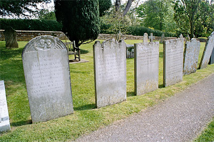 The Hardy family graves are all together in the churchyard.