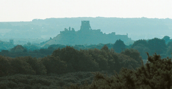 Corfe Castle viewd from Slepe near Arne.