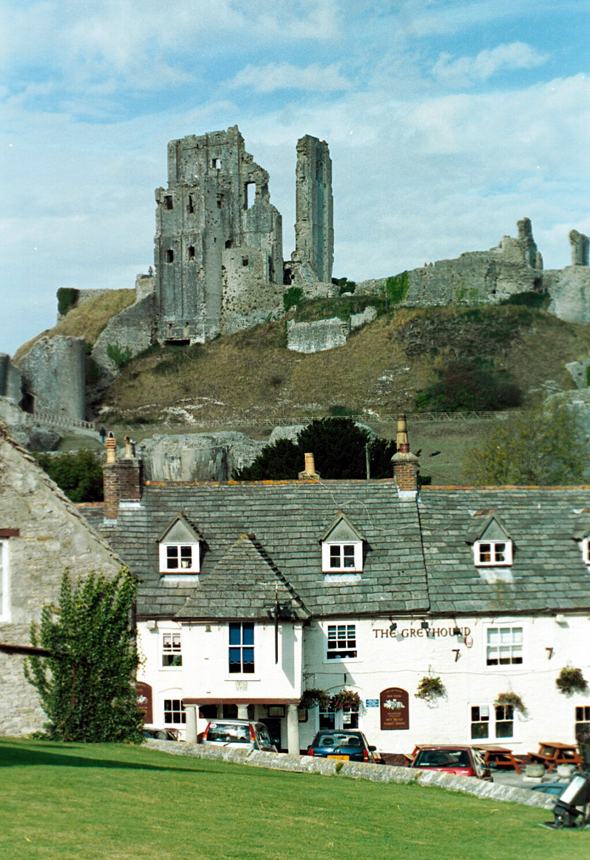 Corfe Castle viewed from the town