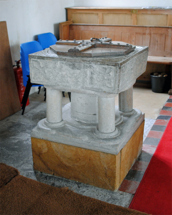St Peter and St Paul Church. 12th century font. Photo by Robert Chisman