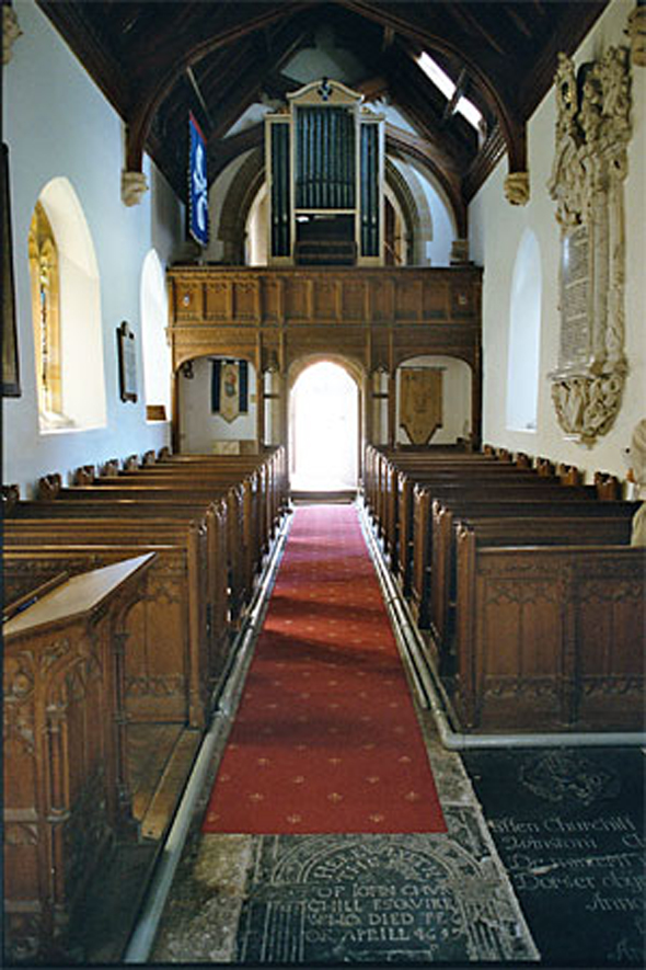Looking from chancel and nave towards the gallery and organ. Photo Robert Chisman