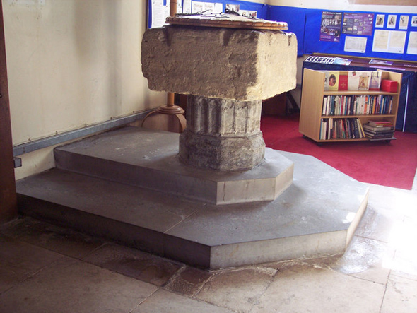 The font at St. Gregory's Church. Photo by Trish Steel. Click on photo for more information about the photographer.