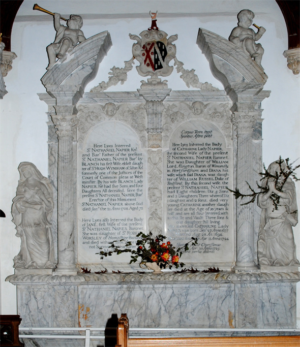 The Napier monument restored to its position in the north chapel of St. Andrew's Church. Photo by Robert Chisman October 2010.