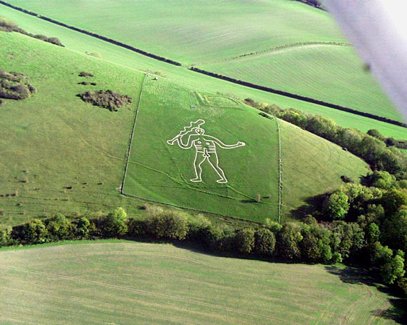 Aerial view of the Cerne Abbas Giant. Photo Peter Harlow.