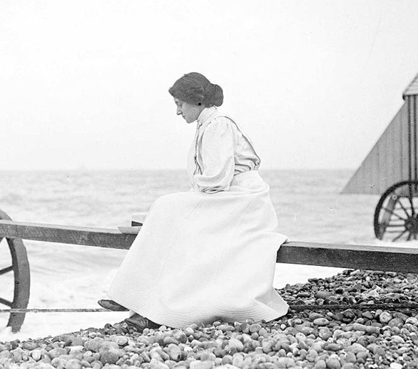 Florence, Thomas Hardy's second wife and previously his secretary who he married in 1914. Photographed at the seaside in 1915.