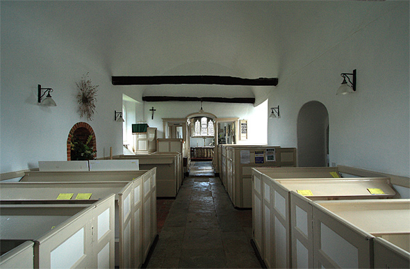 Interior of the church at Chalbury. Photo by Mike Searle, For more about the photographer click on the photo.