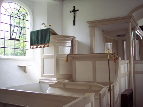 The pulpit in Chalbury Church. Photo by Trish Steele; for more about the photographer click on the photo.