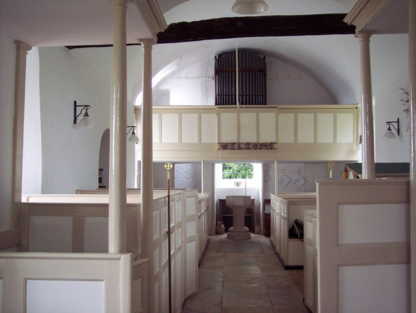 Interior of Chalbury Church. Photo by Trish Steele, for more information about the photographer click on the photograph.