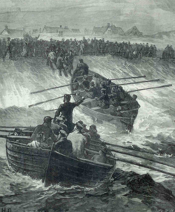 This picture depicts the two Portland Lerret boats launched to rescue survivors of the collision between the Avalanche and the Forest of Windsor off Portland in September 1877. One of these boats was called 'Black Joke'. Our thanks to David Carter for sharing this picture, which originally appeared in the Illustrated London News.