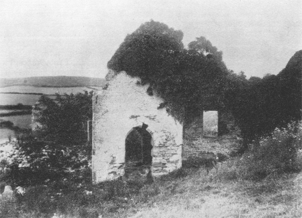 Photo taken in 1909 of the Ruined Chapel at Stanton St. Gabriel.
