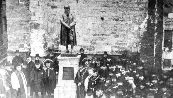 Photo of the unveiling on the 7th of October 1886 of the statue of William Barnes outside of St. Peter's Church, Dorchester, The bronze statue is the work of sculptor Roscoe Mullins.