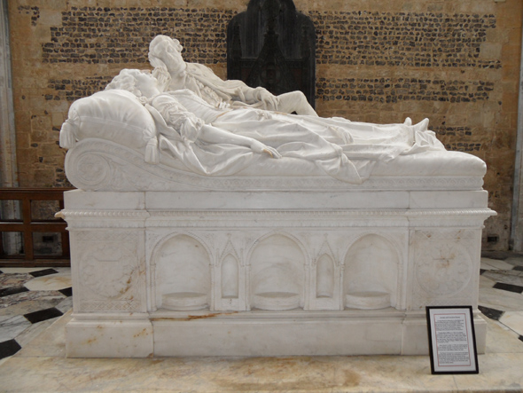 Milton Abbey – In the north transept and freestanding tomb of Caroline (Sackville) Damer, wife of Lord Milton, 1775, white marble table tomb with effigies by A. Carlini and dated 1775. Photo by Jackie Tory.