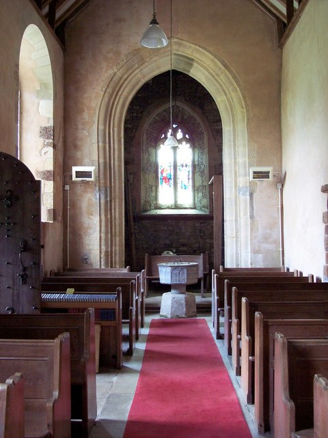 Interior of St. Mary's Church at Almer. Photo by Trish Steel, please click on the image for more about the photographer.