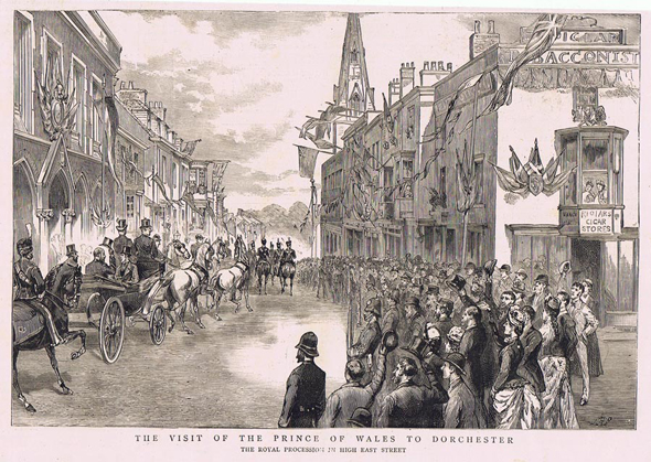This engraving was made from a photograph taken by Dorchester's pre-eminent photographer of his day, Walter Pouncy. It was taken on the 2nd of June 1887 when the Prince of Wales visited Dorchester. There is a full report of the event in the editorial section and can be found in the Dorchester Category.
