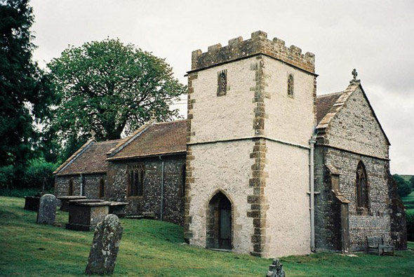 The parish church of St. Mary at Frome St. Quintin. Photo by Chris Downer taken in 1997. For more about the photographer click on the image.
