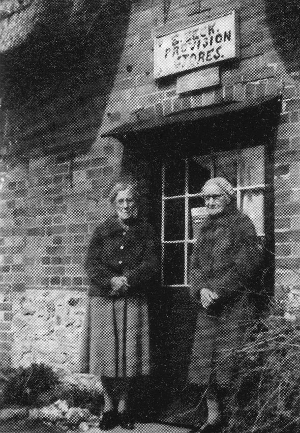 Emily and Bessie Beck outside of their village store at Fontmell Magna (See our story The Passing of a Village Store.