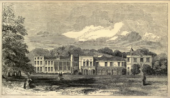 Image of Forde Abbey in the parish of Thorncombe taken from a mid 19th century publication