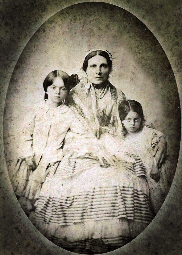 Elizabeth Henrietta (nee Wilson) Salkeld 1802-1879, with two of her grand children.