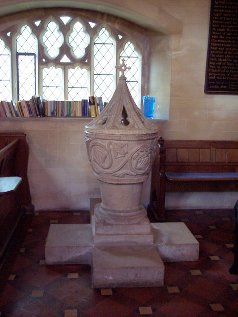 The Norman Font in St. Peter's Church. Photo by Trish Steel, for more about the photographer click on the image.