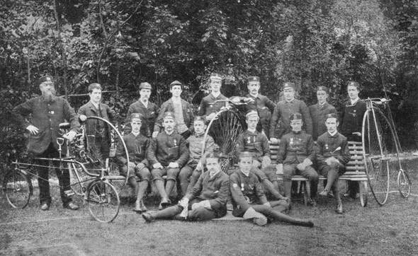 The Dorchester Rovers Cycling Club photographed in the 1880's