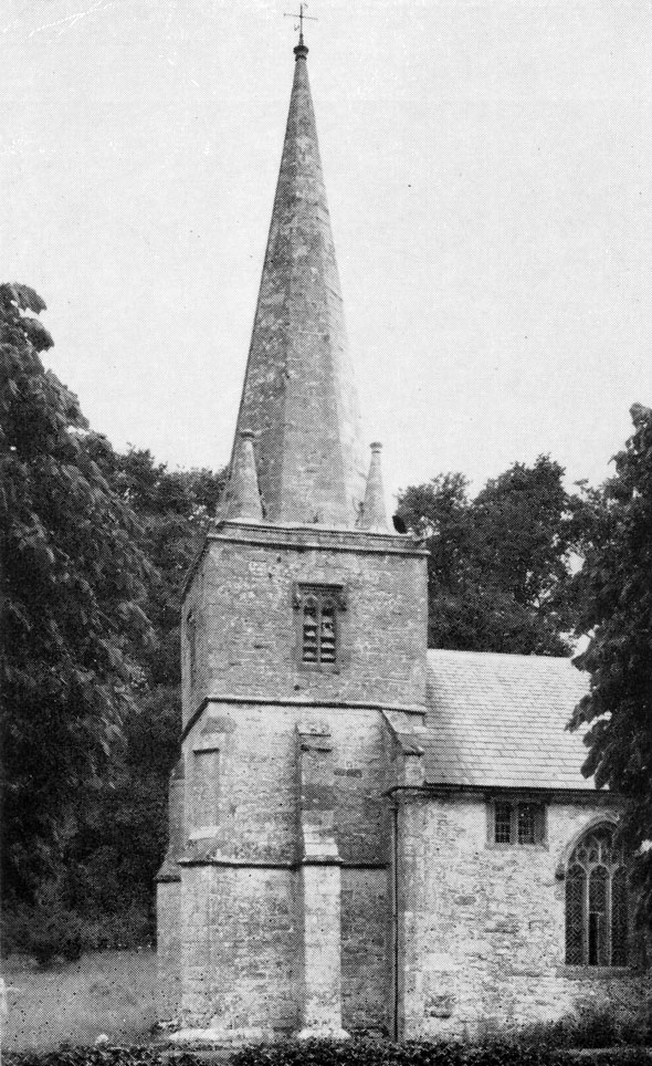 Tower and soire of St. Michael's Church, photo taken mid 20th century.