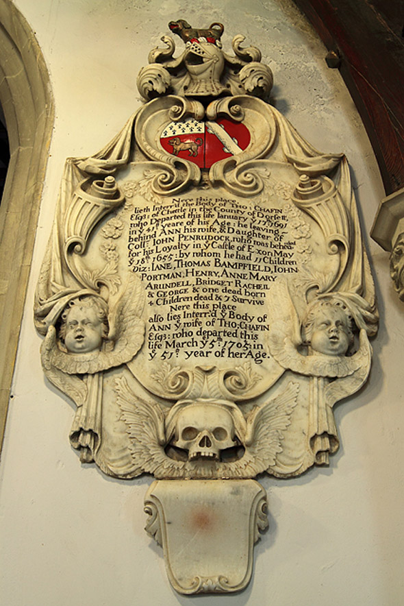 Chafin family memorial in St. Mary's Church, Chettle. Photo by Mike Searle, for more about the photographer please click on image.