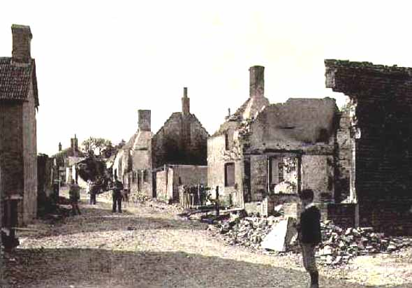 The village of Sixpenny Handley photographed shortly after the fire in 1892.